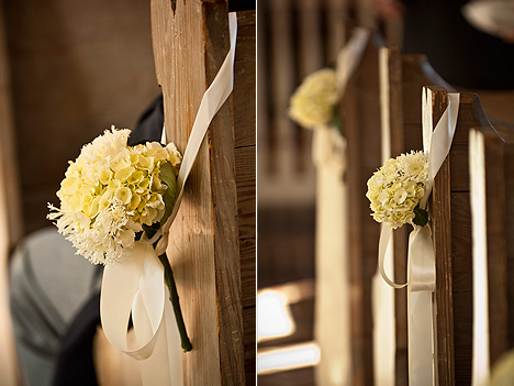 Ivory Hydrangeas tied with an Ivory Ribbon