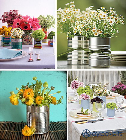 recycled bottle centerpieces