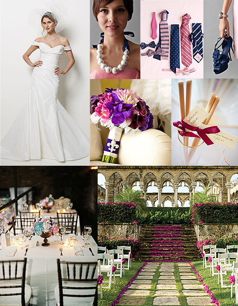 styled wedding blue purple and dark pink is a color scheme to