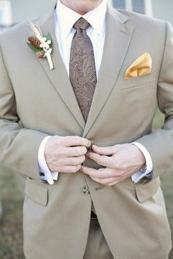 tan suit fall wedding
