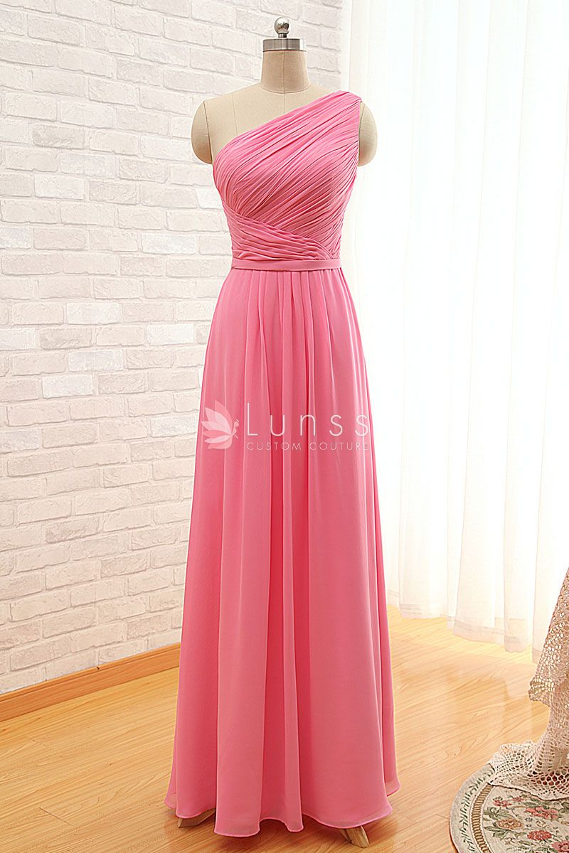 Affordable bridesmaid dress ideas pleated asymmetrical one shoulder pink chiffon simple long ombrellifo Images